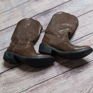 Justin 12D brown leather cowboy boots